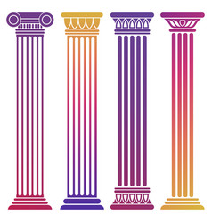 Bright ancient columns set on white background vector