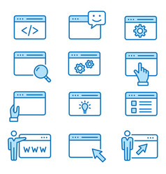 browser flat line icon set vector image