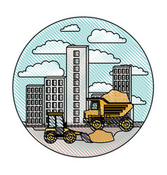 Building set city with contruction vehicles in vector