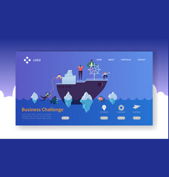 Business challenge landing page people characters vector