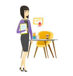 business woman holding clipboard with documents vector image
