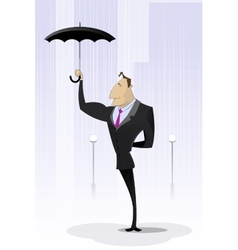Businessman standing with umbrella in rain vector image