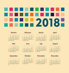 Calendar 2018 year week starts from sunday vector