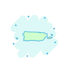 cartoon puerto rico map icon in comic style vector image