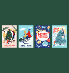 christmas greeting cards winter holidays banners vector image
