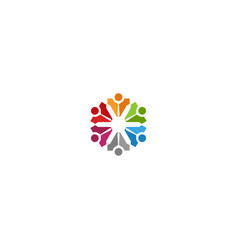 circle colored abstract people teamwork logo vector image