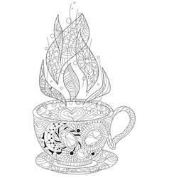 Coffee or tea cup with abstract ornaments vector