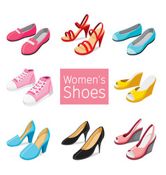 Collection of different womens shoes pair vector