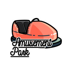 Color vintage amusement park emblem vector