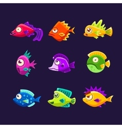 Colorful tropical fish collection vector