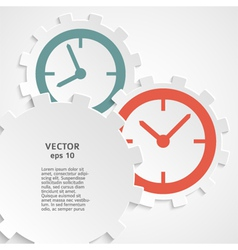 concept of time clock on the gear icon cutaway vector image
