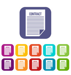 Contract icons set vector