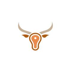 Creative bull meat head logo vector