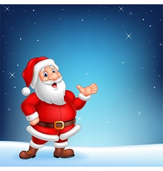 Cute Santa presenting on a night sky background vector image