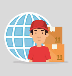 delivery worker with boxes vector image