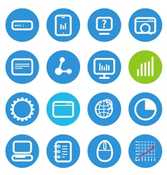 Different SEO icons set with rounded corners vector image