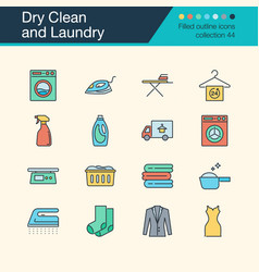 dry clean and laundry icons filled outline design vector image