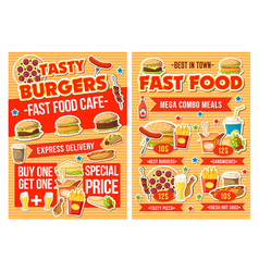 Fast food burger pizza and drinks combo menu vector