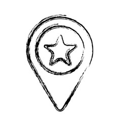 Figure search sign with star inside icon vector