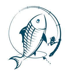 fishing rod with catch silhouette vector image