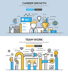 Flat design line concept Career and Team work vector