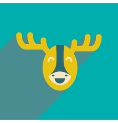 Flat icon with long shadow Canadian moose vector