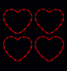 Four shapes of heart silhouette of barbed wire vector