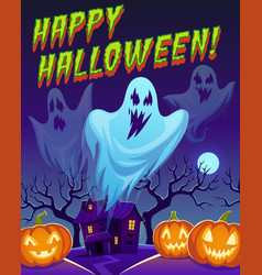 ghosts poster happy halloween funny cute spirit vector image