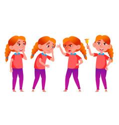 Girl schoolgirl kid poses set redhead vector