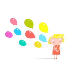 Girl standing with balloons vector