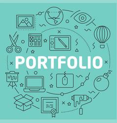 Green line flat circle portfolio vector