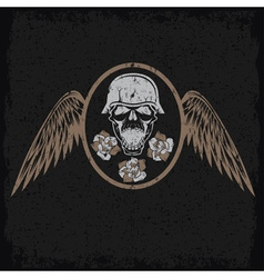 grunge biker theme label with flowerswings and vector image