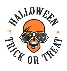 Halloween skull with glasses logo vector image