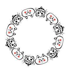 hand drawn cat round frame vector image