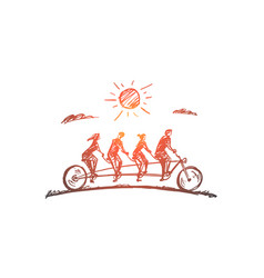 Hand drawn family four members riding bicycle vector