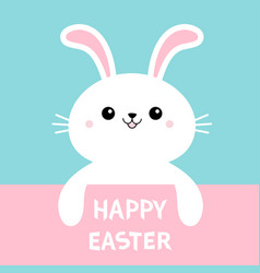 Happy easter rabbit bunny cute cartoon kawaii vector