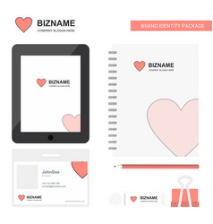 heart business logo tab app diary pvc employee vector image
