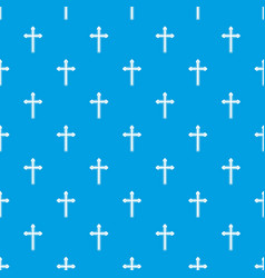 Holy cross pattern seamless blue vector