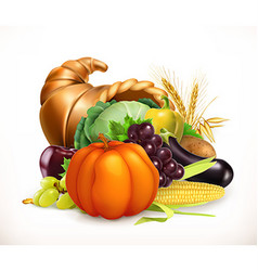 Horn of plenty Harvest fruits and vegetables vector