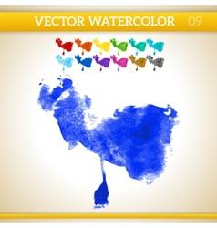 Indigo Watercolor Artistic Splash for Design and vector image