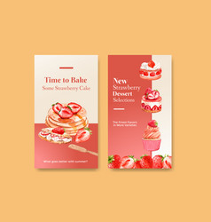 Instagram template with strawberry baking design vector