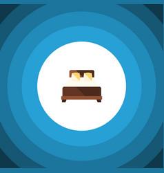Isolated double bed flat icon mattress vector