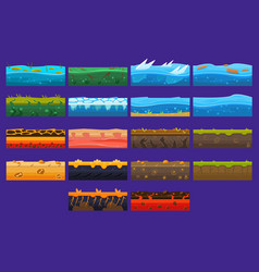 landscape elements sett ground collection vector image