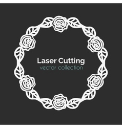 Laser Cutting Template Round Card with Roses vector image