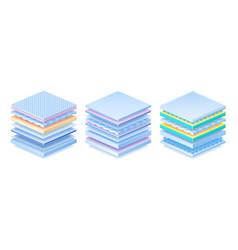 Layered material realistic orthopedic mattress vector