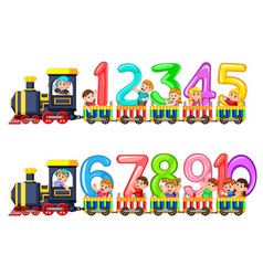 Lets count to ten with kids on the train vector