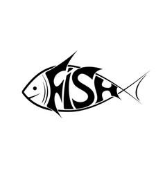 logo or emblem word fish in shape vector image