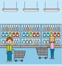 man and woman in supermarket with cart shopping vector image