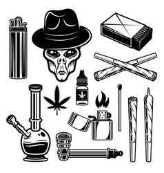 Marijuana and smoking tools set vector
