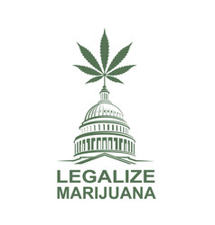 Marijuana leaf on capitol vector
